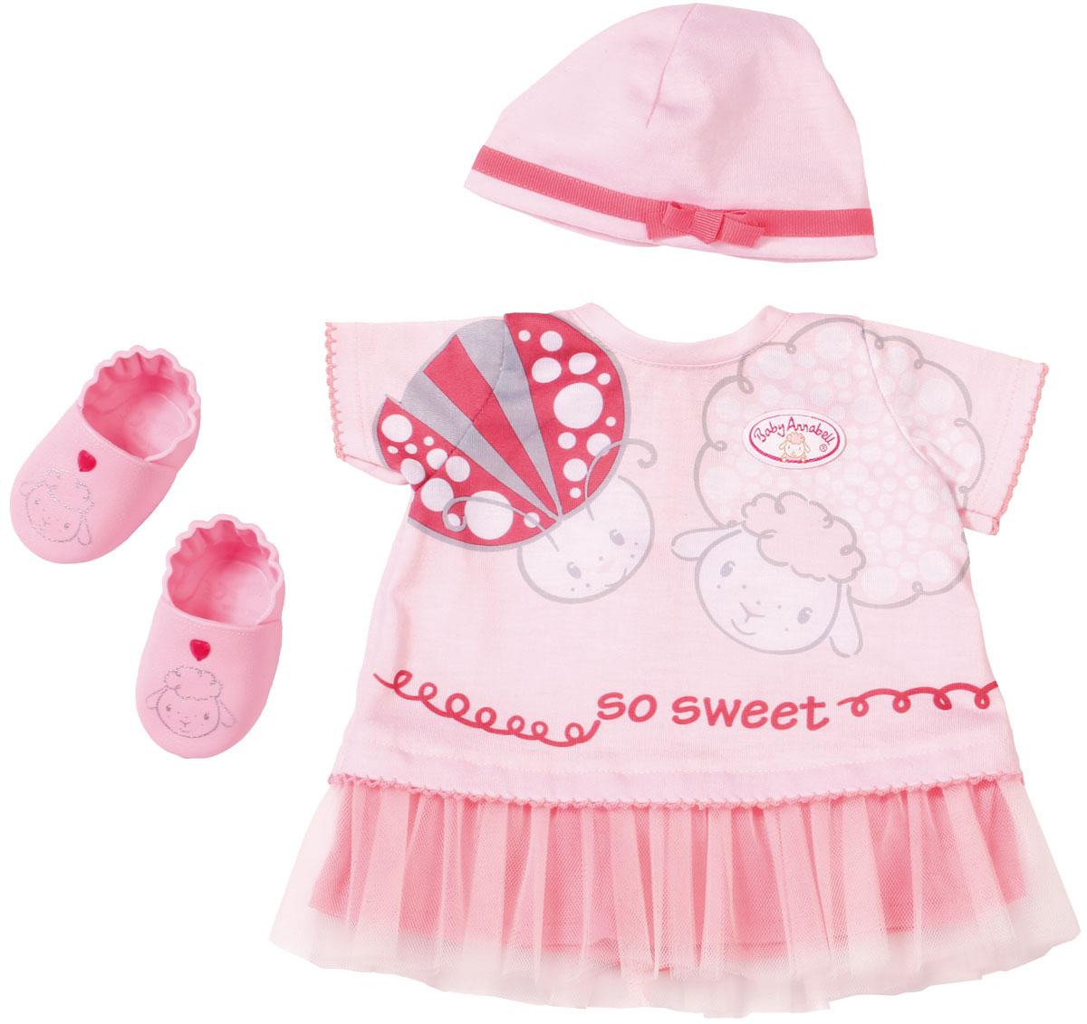 Zapf Одежда для куклы Baby Annabell Платье шапочка пинетки аксессуары для кукол zapf игрушка baby annabell памперсы