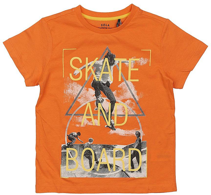 Футболка для мальчика Sela, цвет: розово-оранжевый. Ts-811/598-7223. Размер 122, 7 лет футболка для девочки sela цвет лиловый tsl 611 984 7223 размер 152 12 лет