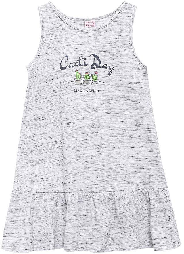 Платье для девочки Sela, цвет: светло-серый меланж. Dksl-517/142-7214. Размер 116, 6 лет