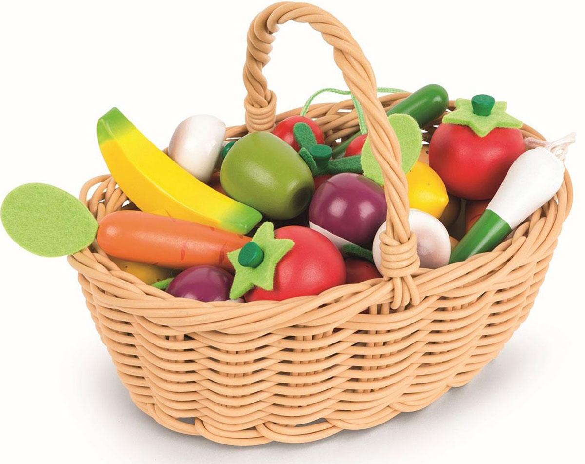 Janod Набор овощей и фруктов в корзинке 24 предмета удалитель хвостиков из овощей и фруктов tk 0128