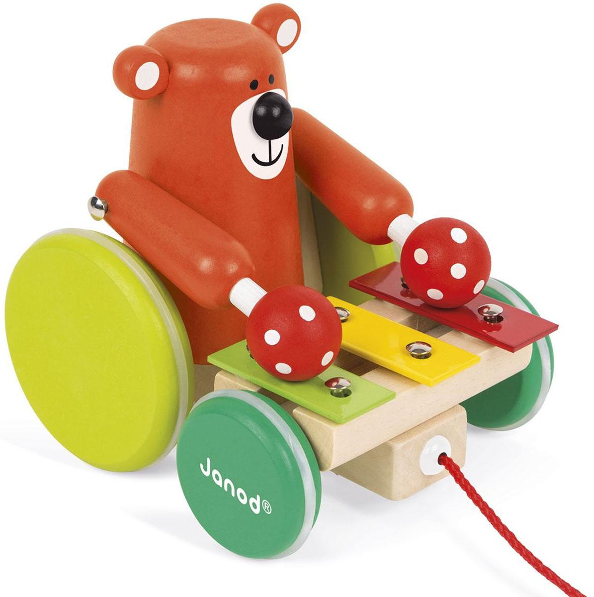 Janod Игрушка-каталка Медвежонок-музыкант игрушка каталка жираф деревянная