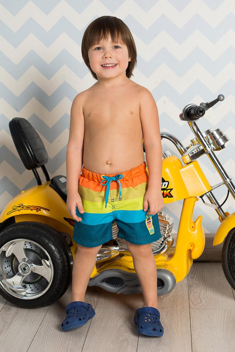 Шорты пляжные для мальчика Sweet Berry, цвет: синий, голубой, желтый, оранжевый. 711030. Размер 98711030Пляжные шорты для мальчика Sweet Berry, изготовленные из качественного материала, - идеальный вариант, как для купания, так и для отдыха на пляже. Модель с вшитыми сетчатыми трусиками на поясе имеет эластичную резинку, регулируемую шнурком, благодаря чему шорты не сдавливают живот ребенка и не сползают. Изделие оформлено принтом в полоску и аппликацией и дополнено имитацией ширинки.Шорты быстро сохнут и сохраняют первоначальный вид и форму даже при длительном использовании.