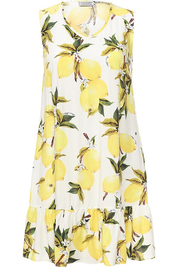Платье Finn Flare, цвет: молочный. S17-14090_711. Размер S (44)S17-14090_711Платье Finn Flare выполнено из 100% вискозы. Модель с V-образным вырезом горловины оформлено оригинальным принтом.