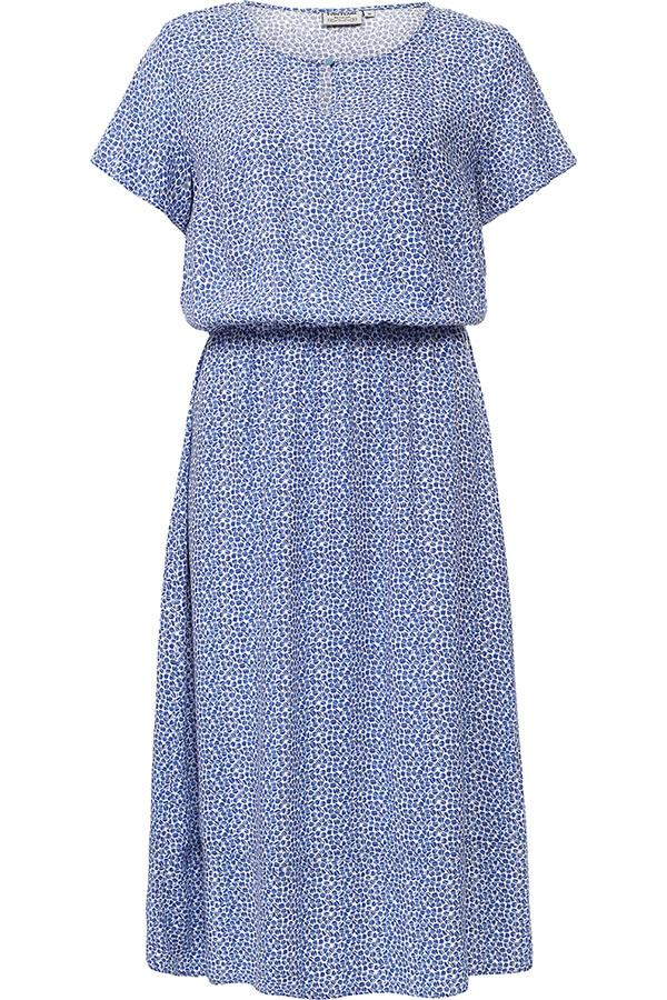 Платье Finn Flare, цвет: синий. S17-11050_115. Размер L (48)S17-11050_115Платье Finn Flare выполнено из вискозы. Модель с круглым вырезом горловины и короткими рукавами.