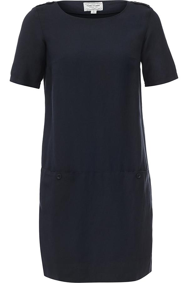 Платье Finn Flare, цвет: темно-синий. S17-11040_101. Размер M (46)S17-11040_101Платье Finn Flare выполнена из льна и вискозы. Модель с круглым вырезом горловины и короткими рукавами.