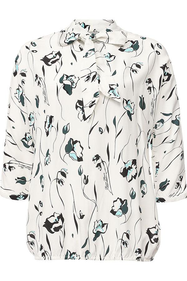 Блузка женская Finn Flare, цвет: белый. S17-11071_201. Размер L (48)S17-11071_201Блузка женская Finn Flare выполнена из 100% вискоза. Модель с рукавами 3/4 оформлена оригинальным принтом.
