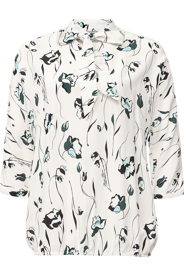 Блузка женская Finn Flare, цвет: белый. S17-11071_201. Размер L (48) блузка женская finn flare цвет лиловый синий бежевый s16 14085 814 размер m l 46 48