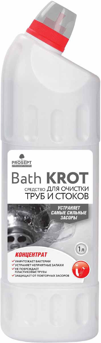 Средство для устранения засоров в трубах Prosept Bath Krot, концентрат, 1 л111-1Сильнощелочное чистящее средство для профилактики и устранения засоров в сточных и канализационных трубах. Удаляет сильные засоры органического происхождения, растворяя бумагу, волосы, жиры, пищевые отходы, мыло и пр. Уничтожает бактерии. Устраняет неприятные запахи. Глубоко проникает и очищает даже заполненные водой трубы. Обладает консервирующим эффектом, предохраняя от повторных засоров.Товар сертифицирован. Как выбрать качественную бытовую химию, безопасную для природы и людей. Статья OZON Гид