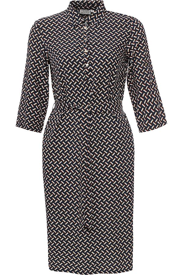 Платье Finn Flare, цвет: темно-синий. S17-11043_101. Размер S (44)S17-11043_101Платье Finn Flare выполнено из 100% вискозы. Модель с отложным воротником и рукавами 3/4 застегивается на пуговицы.