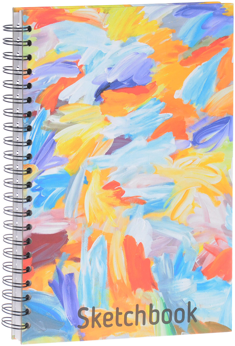 Попурри Скетчбук Краски 80 листов400802Удобный скетчбук Краски на металлическом гребне с блоком из плотной белой бумаги предназначен для рисования. Скетчбук имеет обложку из твердого картона. Обложка оформлена небрежными мазками цветных красок. Такой скетчбук - настоящая находка для художника, иллюстратора или архитектора.