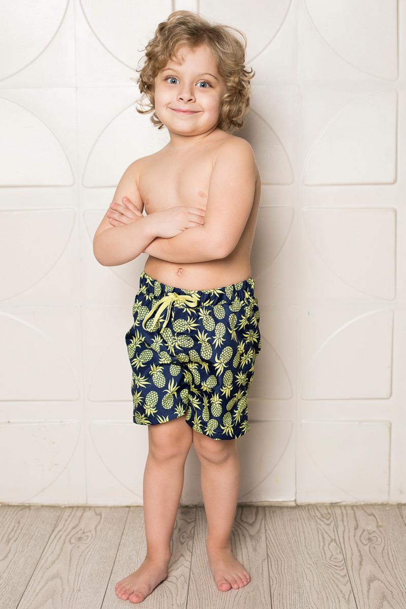 Шорты пляжные для мальчика Sweet Berry, цвет: желтый, синий. 713047. Размер 116713047Пляжные шорты для мальчика Sweet Berry, изготовленные из качественного материала, - идеальный вариант, как для купания, так и для отдыха на пляже. Модель с вшитыми сетчатыми трусиками на поясе имеет эластичную резинку, регулируемую шнурком, благодаря чему шорты не сдавливают живот ребенка и не сползают. Изделие оформлено оригинальным принтом и дополнено имитацией ширинки.Шорты быстро сохнут и сохраняют первоначальный вид и форму даже при длительном использовании.