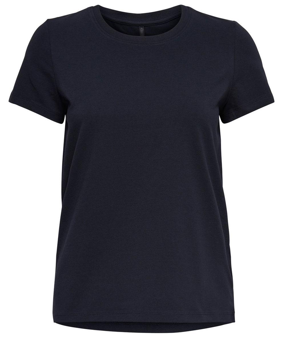Футболка женская Only, цвет: темно-синий. 15131591_Night Sky. Размер M (46)15131591_Night SkyБазовая женская футболка Only изготовлена из хлопка с добавлением эластана. Модель имеет короткие рукава, прямой крой и круглый вырез горловины.