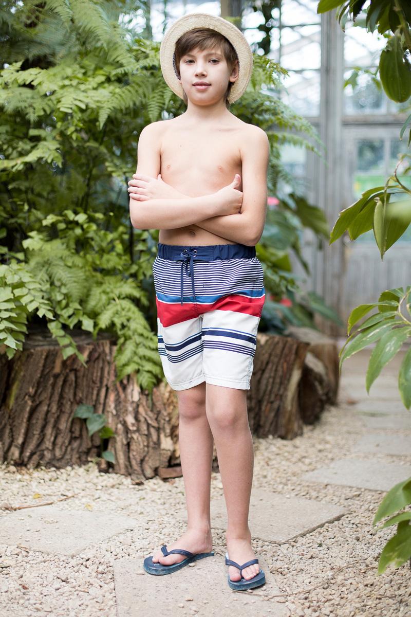 Шорты купальные для мальчика Luminoso, цвет: красный, синий, белый. 717062. Размер 134