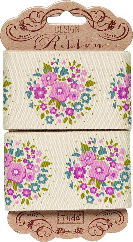Лента Tilda, цвет: бежевый, розовый, 45 х 3 см. 210480969210480969Ленточки Tilda идеально подойдут для декора ваших творческих работ.