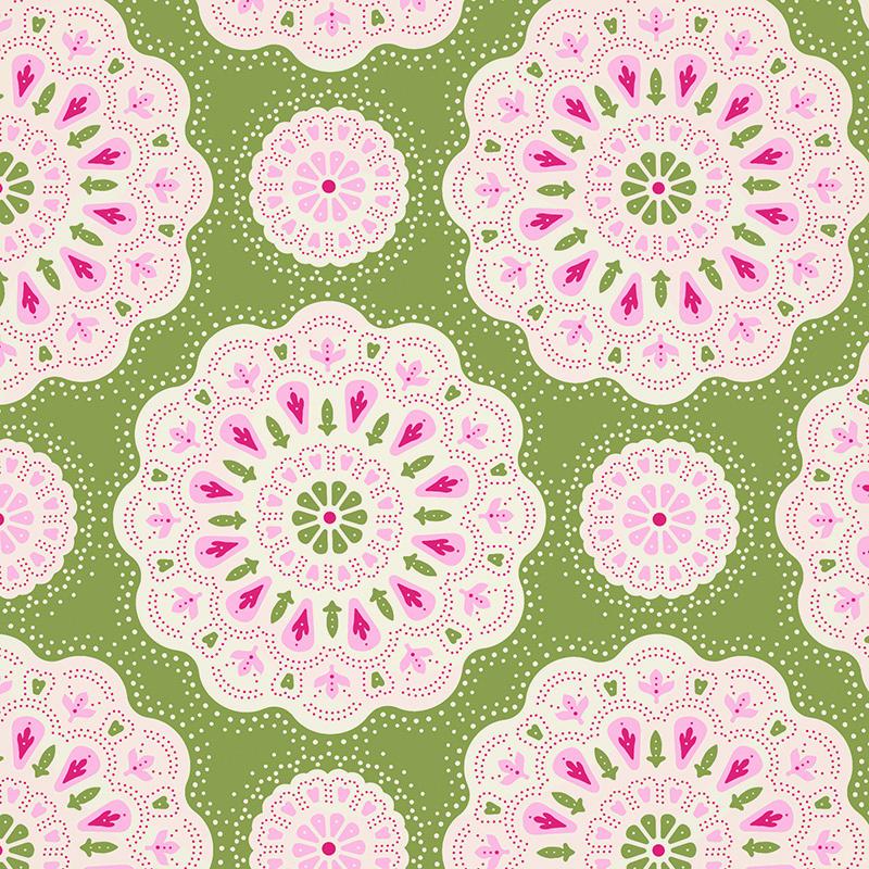 Ткань Tilda Doilies, цвет: зеленый, розовый, белый, 50 х 55 см. 210481060