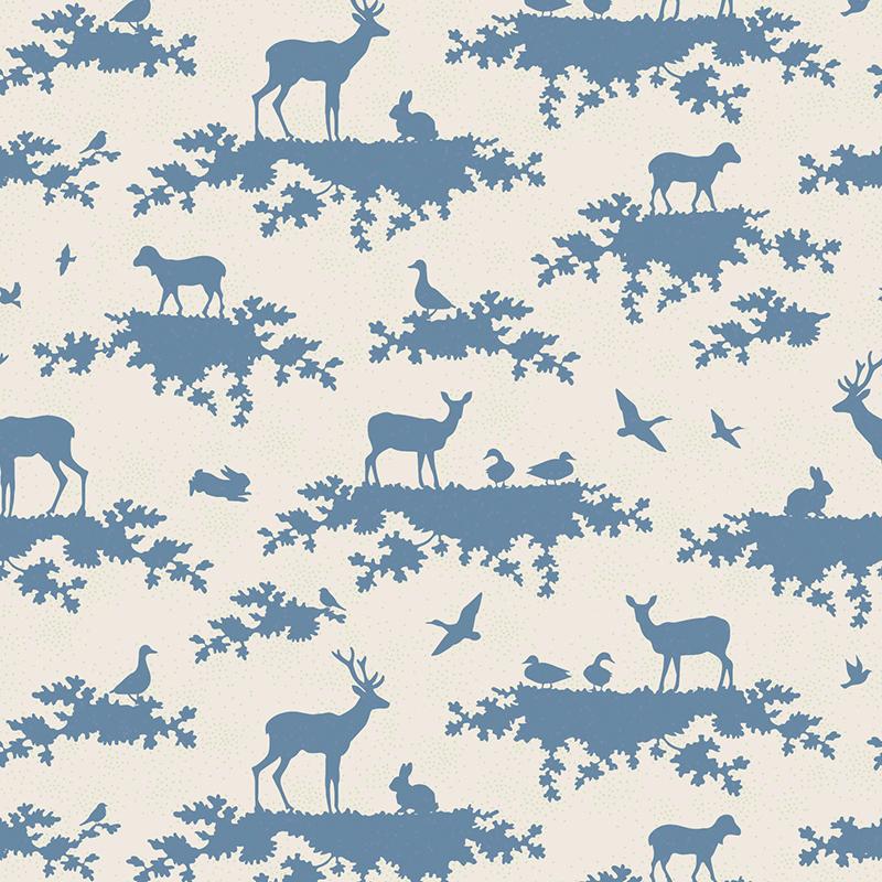 "Ткань Tilda ""Forest"", цвет: белый, синий, 1 х 1,1 м. 210484044"