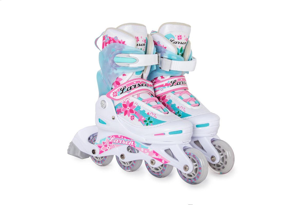 Коньки роликовые для девочки Larsen Flower, цвет: белый, розовый, голубой. 261455. Размер XS (26/29) - Ролики