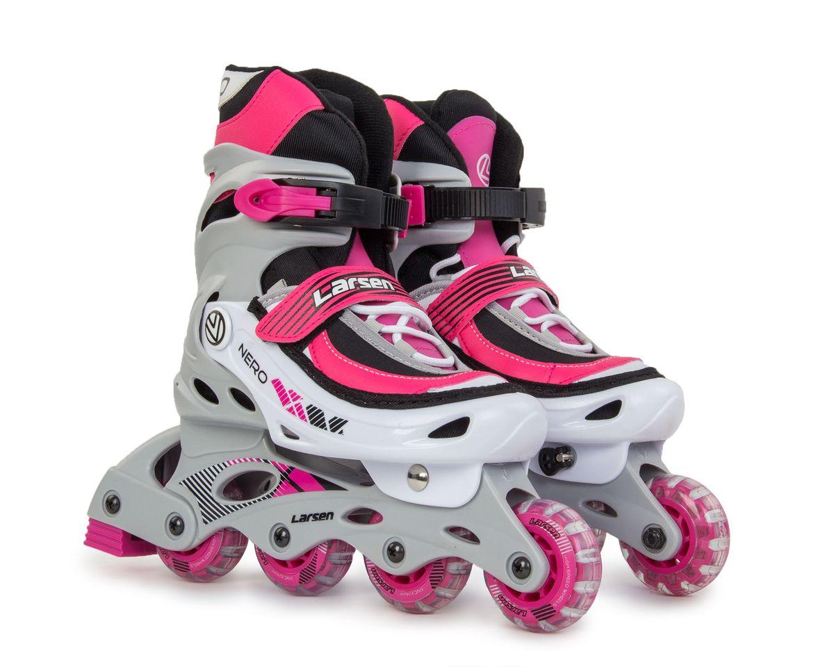 Коньки роликовые для девочек Larsen Nero, цвет: серый, белый, розовый. 336002-578. Размер L (39/42) коньки larsen коньки фигурные red flake