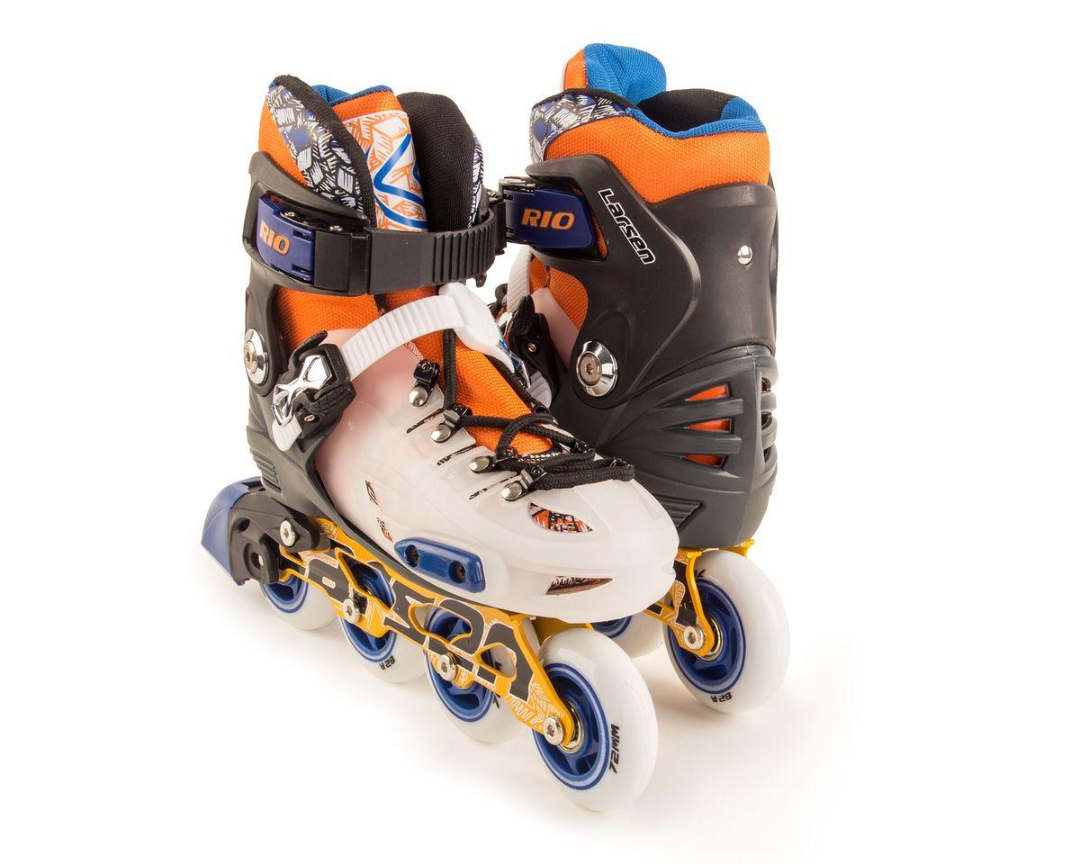 Коньки роликовые Larsen  Rio , цвет: оранжевый, белый, черный. 336003-904. Размер S (28/31) - Ролики