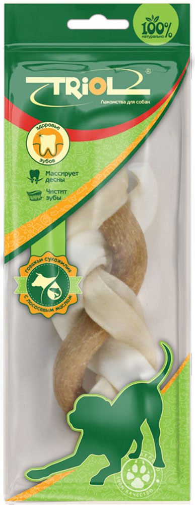 Лакомство для собак из жил Triol Косичка, с маслом лосося, длина 12 смBP10-1Косичка из жил с маслом лосося – это функциональная игрушка и настоящий лакомый микс из сыромятной кожи, говяжьих сухожилий и лососевого масла – лучшего источника активных Омега-3 кислот, необходимых для блеска шерстного покрова, очистки крови и нормальной работы организма в целом. Пищевая ценность: белки - 80%, жиры - 0,1-2%, клетчатка - 0,2%. Вес 1 штуки: 65-75г. Размер 12см.