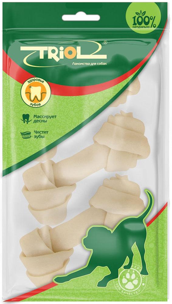 Лакомство для собак Triol Кость узловая, цвет: белый, длина 10 см, 3 шт кости жевательные для собак vitakraft chews из сыромятной кожи 200г