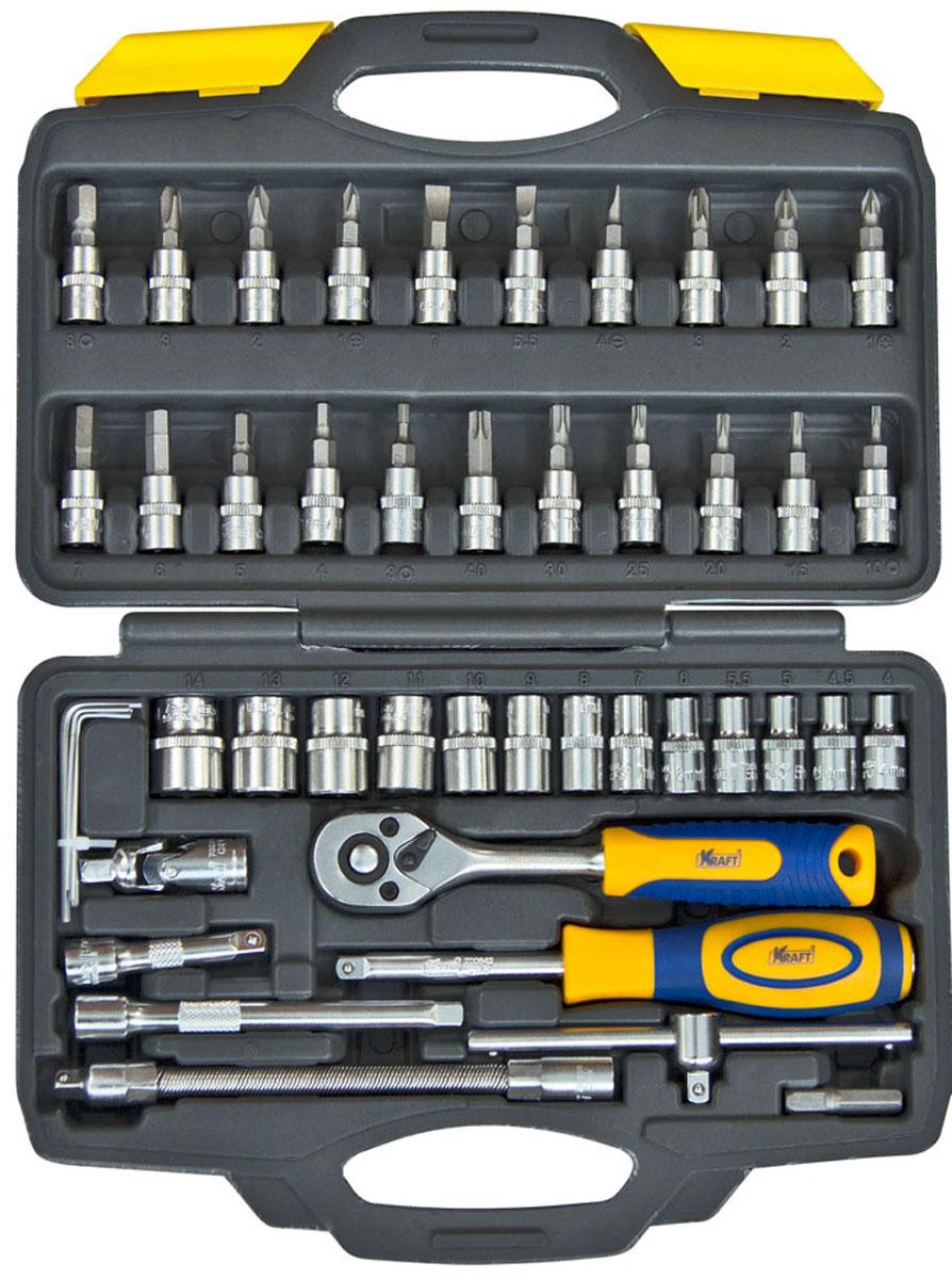 Набор инструментов Kraft Professional, 1/4, 46 предметовКТ700618Набор слесарно-монтажного инструмента Kraft Professional предназначен для работы с резьбовыми соединениями. Головка с храповым механизмом устраняет необходимость каждый раз устанавливать ключ на крепежный элемент. Состав набора: шестигранные торцевые головки 1/4: 4 мм, 4,5 мм, 5 мм, 5,5 мм, 6 мм, 7 мм, 8 мм, 9 мм, 10 мм, 11 мм, 12 мм, 13 мм, 14 мм; шестигранные торцевые головки со вставками Шлиц: 4 мм, 5,5 мм, 7 мм; шестигранные торцевые головки со вставками Pozi: 1 мм, 2 мм, 3 мм; шестигранные торцевые головки со вставками Крестообразный шлиц: РН1, РН2, РН3; шестигранные торцевые головки со вставками HEX: 3 мм, 4 мм, 5 мм, 6 мм, 7 мм, 8 мм; шестигранные торцевые головки со вставками TORX:Т10, Т15, Т20, Т25, Т30, Т40; вороток Т-образный 1/4; кардан шарнирный 1/4; удлинитель гибкий 1/4 145 мм;рукоятка трещоточная с быстрым сбросом 1/4: 145 мм, 72 зубца; удлинители 1/4: 50 мм, 100 мм; рукоятка-удлинитель 1/4; ключи торцевые шестигранные Г-образные: 1 мм, 1,5 мм, 2 мм, 2,5 мм; переходник 1/4. Торцевые головки Kraft Professional изготовлены из хромованадиевой стали марки 50BV30 со специальным трехслойным покрытием, обеспечивающим долговременную защиту от механических повреждений.