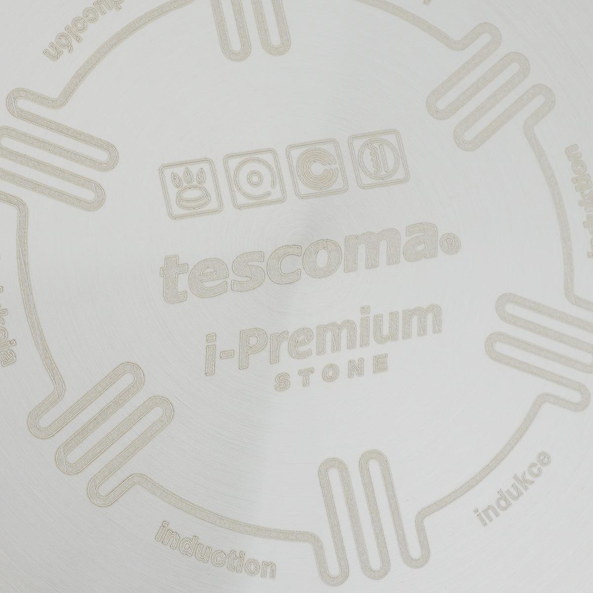 """Сковорода Tescoma """"i-Premium Stone"""" выполнена из безвредного алюминия посредством современного метода штамповки. Оснащена индукционным дном из нержавеющей стали, ручка изготовлена из прочной пластмассы в комбинации c металлом. Изделие имеет специально разработанное антипригарное покрытие c текстурной поверхностью, со свойствами неполированного натурального камня.  Благодаря этому блюда пропекаются равномерно, не пригорают, остаются сочными и сохраняют свой натуральный вкус. Внутренняя часть сковороды имеет рифленую, характерную для гриля, поверхность. Подходит для всех типов плит, включая индукционные. Можно мыть в посудомоечной машине.   Размер сковороды: 26 х 26 см.  Высота стенки: 4 см.  Диаметр индукционного диска: 17,2 см.  Длина ручки: 17,5 см."""
