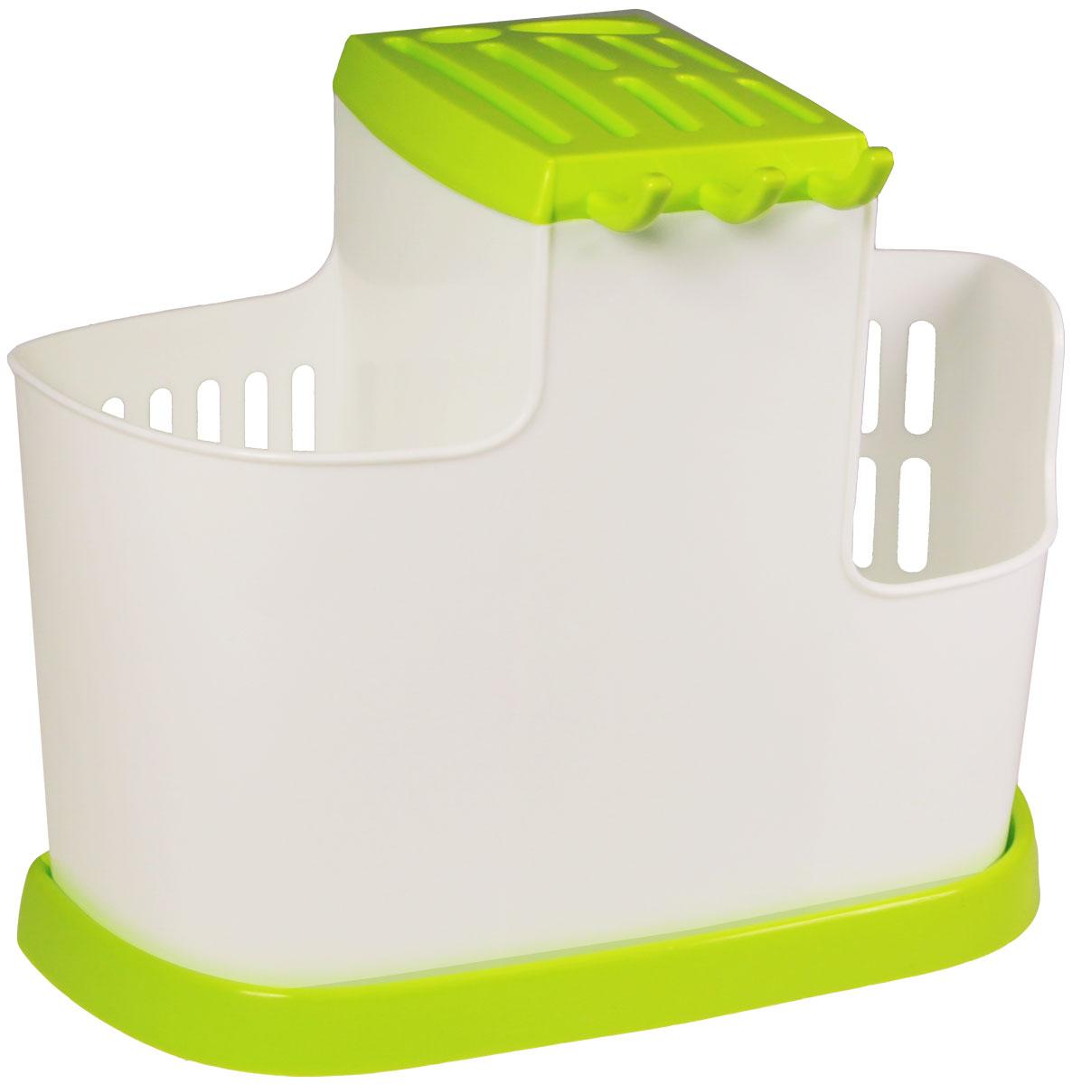 Органайзер кухонный Idea, цвет: салатовый, 19 х 25 х 14,5 смМ 1178Кухонный органайзер Idea позволит вам при помощи трех секций сушить или хранить столовые приборы, а при помощи специального поддона обеспечивается сток воды.Размер: 19 х 25 х 14,5 см