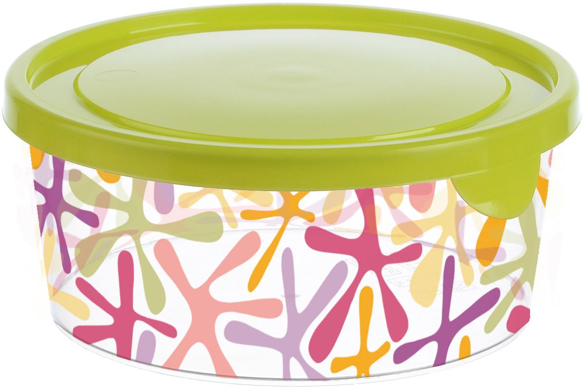 Емкость для продуктов Idea Деко, круглая, цвет: салатовый, 0,5 лМ 1445Емкость для продуктов Idea Деко изготовлена из пищевого полипропилена. Крышка из эластичного материала плотно закрывается, дольше сохраняя продукты свежими. Боковые стенки прозрачные с принтом, что позволяет видеть содержимое. Емкость идеально подходит для хранения пищи, фруктов, ягод, овощей. В ней также можно хранить разнообразные сыпучие продукты. Такая емкость пригодится в любом хозяйстве.