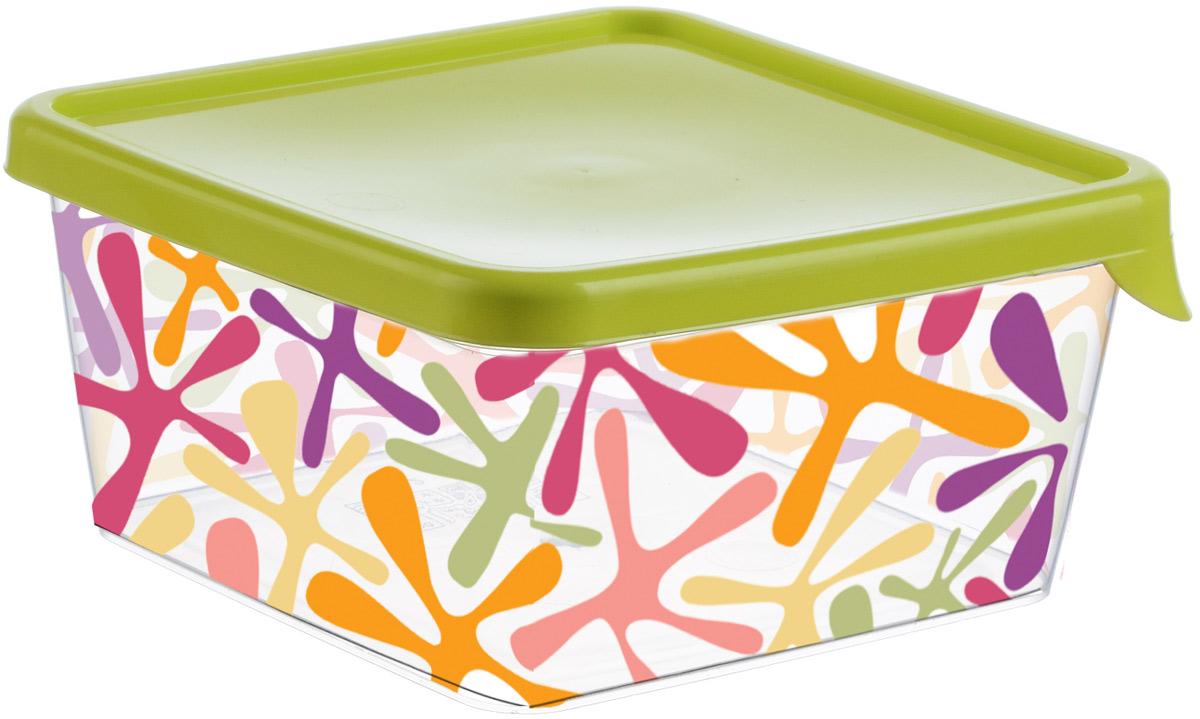 Емкость для продуктов Idea Деко, квадратная, цвет: салатовый, 0,5 лМ 1447Емкость для продуктов Idea Деко изготовлена из пищевого полипропилена. Крышка из эластичного материала плотно закрывается, дольше сохраняя продукты свежими. Боковые стенки прозрачные с принтом, что позволяет видеть содержимое. Емкость идеально подходит для хранения пищи, фруктов, ягод, овощей. В ней также можно хранить разнообразные сыпучие продукты. Такая емкость пригодится в любом хозяйстве.