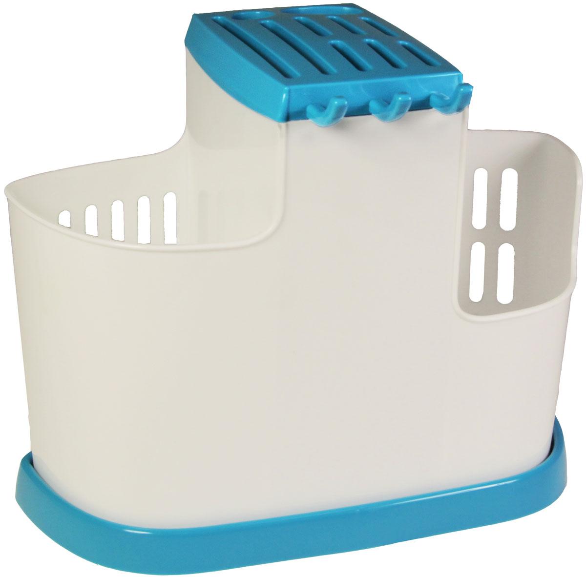 Органайзер кухонный Idea, цвет: бирюзовый, 19 х 25 х 14,5 смМ 1178Кухонный органайзер Idea позволит вам при помощи трех секций сушить или хранить столовые приборы, а при помощи специального поддона обеспечивается сток воды.Размер: 19 х 25 х 14,5 см