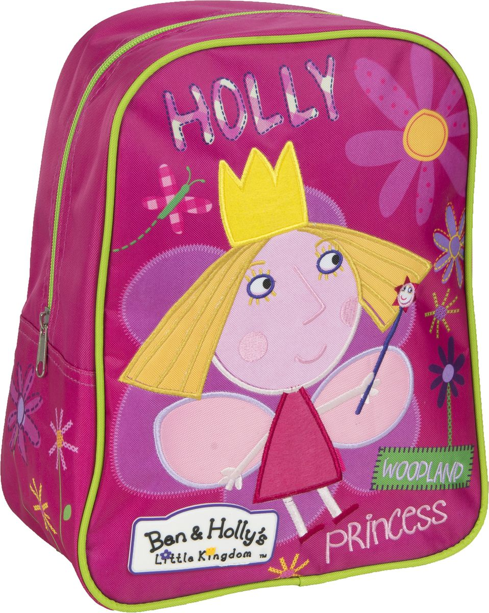 Ben&Holly Рюкзак дошкольный цвет розовый мультиколор31688Дошкольный рюкзачок для девочки Ben&Holly имеет стильный дизайн, компактный размер и легкий вес, а в его вместительном внутреннем отделении на молнии легко поместятся все необходимые вещи, в том числе предметы формата А4. Поэтому он оптимально подойдет вашему ребенку для прогулок, занятий в кружке или спортивной секции. Мягкие регулируемые лямки шириной 6 см берегут плечи от натирания, а светоотражающие элементы, размещенные на них, повышают безопасность ребенка, делая его заметнее на дороге в темное время суток.Удобная ручка помогает носить аксессуар в руке или размещать на вешалке. Износостойкий материал с водонепроницаемой основой и подкладка обеспечивают изделию длительный срок службы и помогают держать вещи сухими в дождливую погоду. Рюкзачок декорирован вышивкой и ярким принтом (сублимированной печатью), устойчивым к истиранию и выгоранию на солнце.