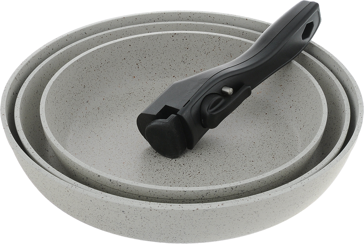 """Набор посуды """"Travola"""" состоит из трех сковородок и съемной ручки. Изделия выполнены   из алюминия с мраморным покрытием. Ручка выполнена из высококачественного   пластика со съемным механизмом.  Такой набор не только станет незаменимым помощником в приготовлении ваших любимых   блюд, но и стильно оформит интерьер кухни.   При приготовлении не использовать металлические аксессуары. Не использовать для мытья   металлические щетки и абразивные материалы. Не   рекомендуется хранить готовые блюда в сковородах, в особенности овощные блюда.  Можно использовать на всех видах плит, кроме индукционных.    Высота стенок: 5,2 см; 4,4 см; 4,3 см.  Внутренний диаметр сковороды (по верхнему краю): 28 см; 26 см; 22 см.  Толщина стенок посуды: 4 мм. Толщина дна посуды: 5 мм. Длина ручки: 16,5 см.     * Победитель номинации «Лучшая собственная торговая марка в сегменте ONLINE»  Премия PRIVATE LABEL AWARDS (by IPLS) —международная премия в области собственных торговых марок, созданная компанией Reed Exhibitions в рамках выставки «Собственная Торговая Марка» (IPLS) 2016 с целью поощрения розничных сетей, а также производителей продовольственных и непродовольственных товаров за их вклад в развитие качественных товаров private label, которые способствуют росту уровня покупательского доверия в России и СНГ."""