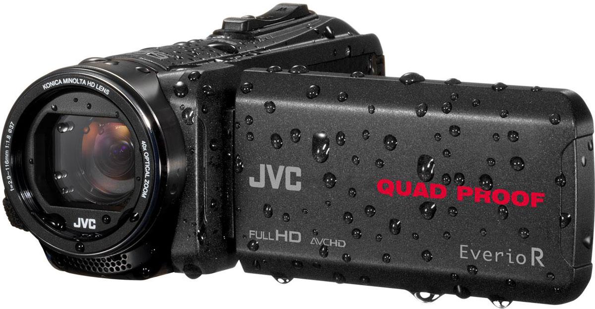 JVC GZ-R430BEU, Black цифровая видеокамераGZ-R430BEUJVC GZ-R430BEU - видеокамера с 4 степенями защиты Quad-Proof, встроенным аккумулятором, который обеспечит работу камеры до 5 часов и встроенной флеш-памятью объемом 4 Гб.Данная модель оснащена КМОП сенсором с разрешением 2,5 Мп с обратной подсветкой, 40-кратным оптическим зумом и системой стабилизации изображения.Видеокамера поддерживает запись при закрытом ЖК экране, а также оснащена резьбой 37 мм для установки светофильтров или широкоугольного конвертора.Модель водонепроницаема при погружении на глубину до 5 м. После активного дня, проведённого на свежем воздухе, её можно вымыть под проточной водой.Прочный корпус выдерживает падение с высоты до 1,5 м. Он защищён от влаги и пыли и рассчитан на работу в широком диапазоне температур.Аккумулятор встроен внутрь корпуса, что обеспечивает ещё более высокую защиту от влаги и позволяет существенно сократить опасность повреждения видеокамеры при замене батарей в плохую погоду.