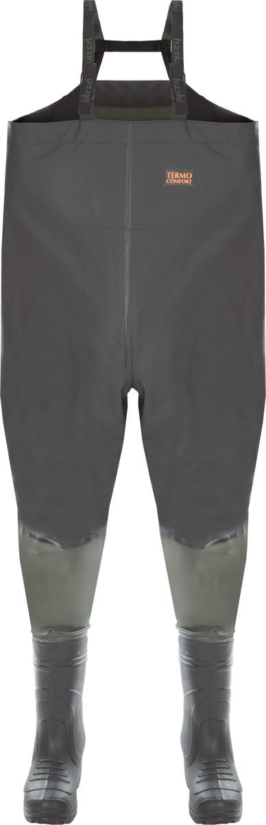 Полукомбинезон рыбацкий Haski Light, цвет: черный, зеленый. Размер 41/4233822Рыбацкий полукомбинезон Haski Light с завышенной спинкой, с удобным внутренним карманом, регулируемыми по длине лямками из двухцветной стропы и эластичной тесьмы. Изготовлен из морозостойкой водонепроницаемой ПВХ-ткани (винитол). Все швы сварены током высокой частоты. Полукомбинезон соединен с сапогами герметичным клеевым швом. Легкие сапоги значительно уменьшают вес изделия, который составляет 2,3 кг. Благодаря использованию материала ЭВА сапоги обладают низкой теплопроводностью, что позволяет комфортно переносить отрицательную температуру. Изделие комплектуется утепляющим вкладышем в сапоги. Материал утепляющего вкладыша - нетканое полотно, дублированное с ворсовым полотном.Этот элемент экипировки специально создан для рыбаков, которые предпочитают не сидеть на берегу, а ловить рыбу на мелководье, зайдя в водоем на определенную глубину.Длина комбинезона по внутреннему шву: 96 см.Максимальный обхват верхней части: 130 см.