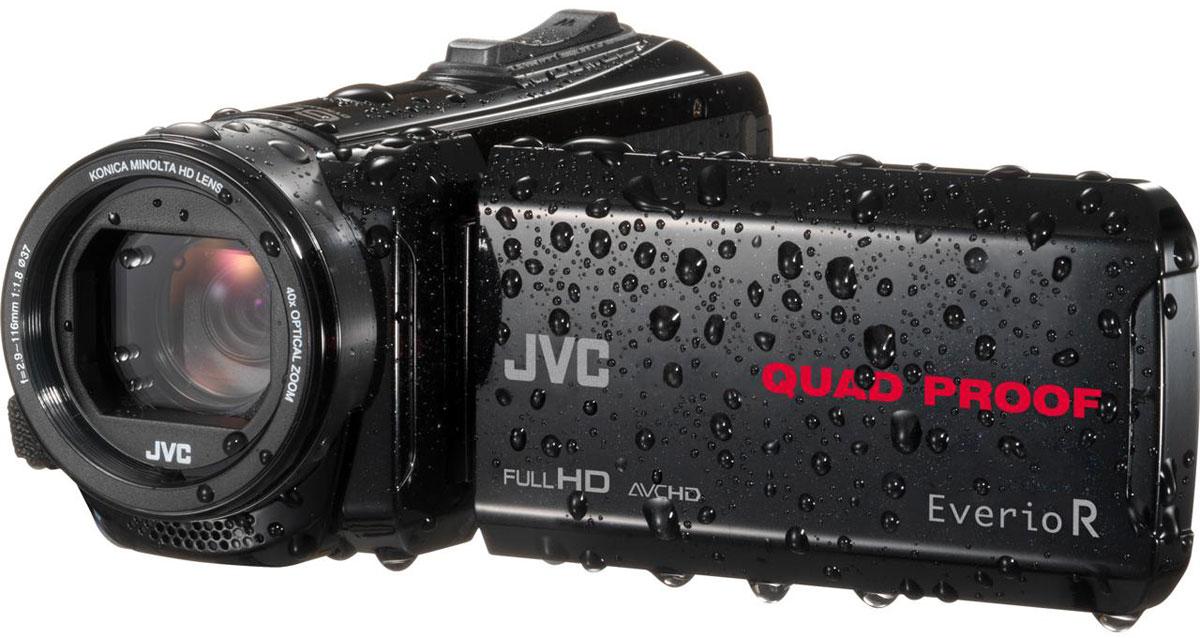 JVC GZ-R435BEU, Black цифровая видеокамераGZ-R435BEUJVC GZ-R435BEU - видеокамера с 4 степенями защиты Quad-Proof, встроенным аккумулятором, который обеспечит работу камеры до 5 часов и встроенной флеш-памятью объемом 4 Гб.Данная модель оснащена КМОП сенсором с разрешением 2,5 Мп с обратной подсветкой, 40-кратным оптическим зумом и системой стабилизации изображения.Видеокамера поддерживает запись при закрытом ЖК экране, а также оснащена резьбой 37 мм для установки светофильтров или широкоугольного конвертора.Модель водонепроницаема при погружении на глубину до 5 м. После активного дня, проведённого на свежем воздухе, её можно вымыть под проточной водой.Прочный корпус выдерживает падение с высоты до 1,5 м. Он защищён от влаги и пыли и рассчитан на работу в широком диапазоне температур.Аккумулятор встроен внутрь корпуса, что обеспечивает ещё более высокую защиту от влаги и позволяет существенно сократить опасность повреждения видеокамеры при замене батарей в плохую погоду.