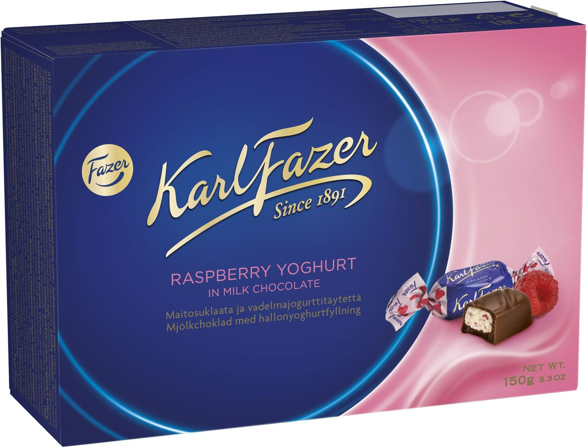 Karl Fazer конфеты молочный шоколад с малиновым йогуртом, 150 г kinder choco bons конфеты из молочного шоколада с молочно ореховой начинкой 46 г
