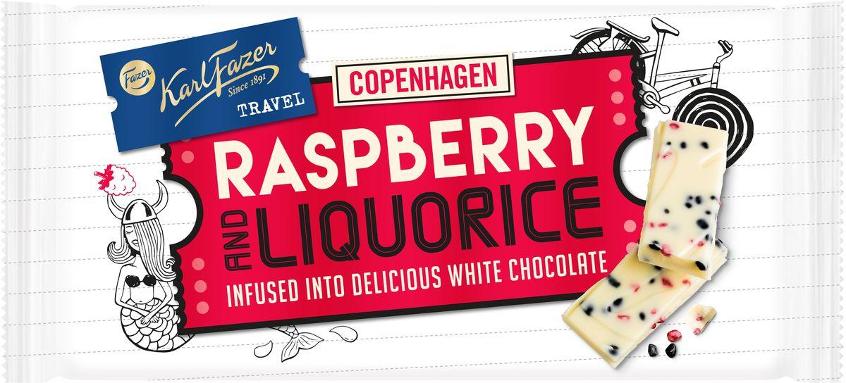 все цены на Karl Fazer белый шоколад с лакричными и малиновыми крипсами, 130 г онлайн