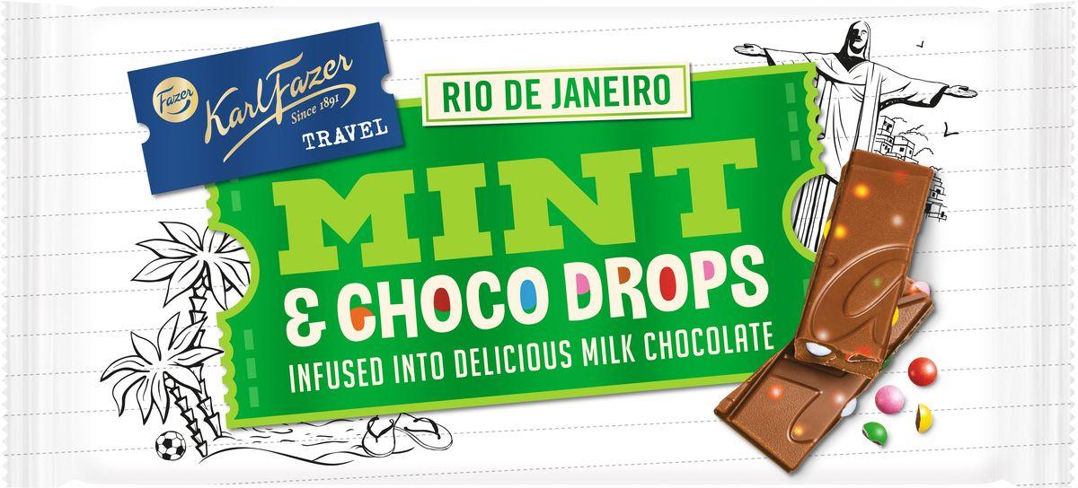 Karl Fazer молочный шоколад вкус мяты и драже из молочного шоколада, 130 г sunglasses trespass sunglasses