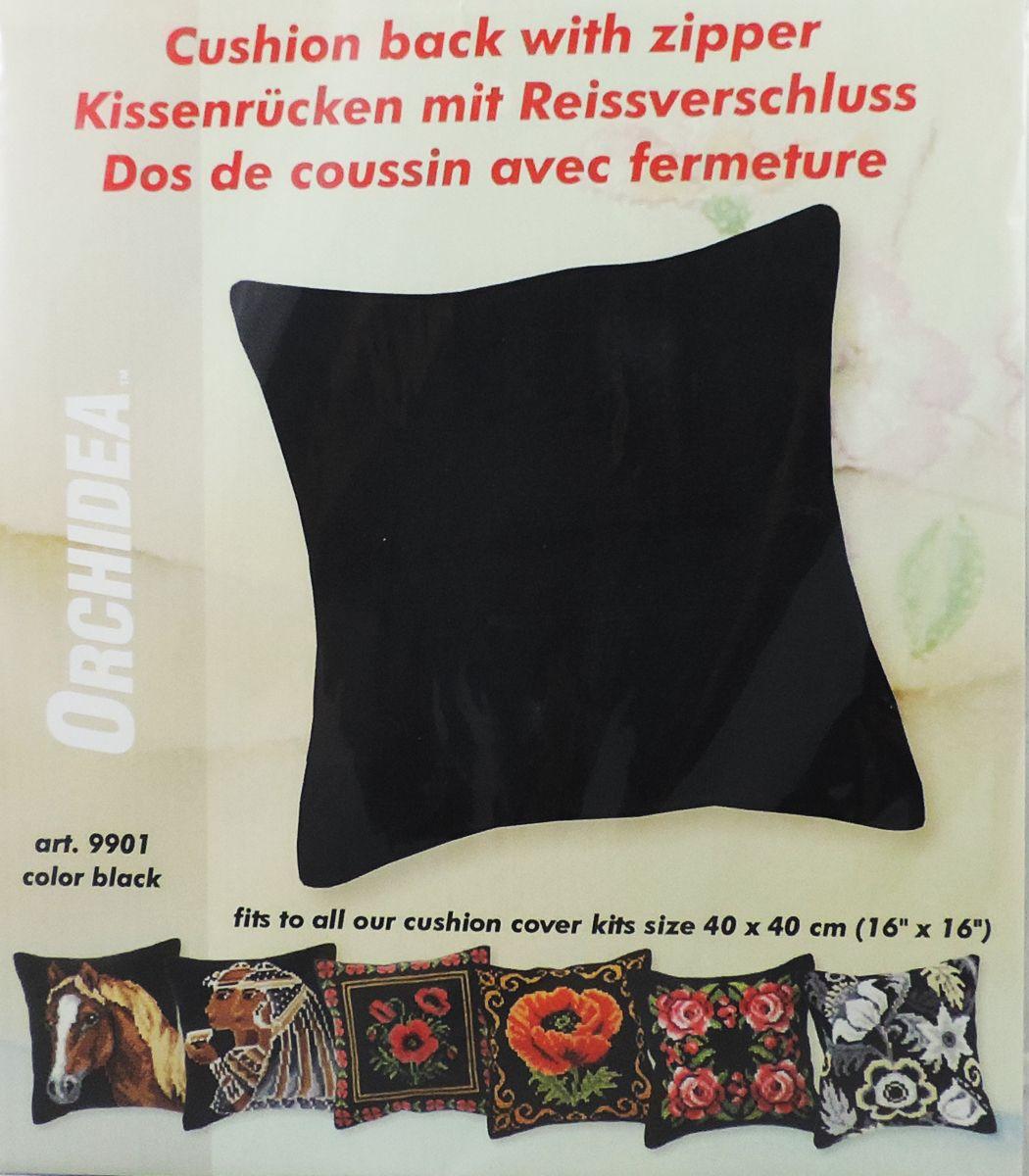 Обратная сторона подушки Orchidea, 45 х 45 см, цвет: черный. 99019901Обратная сторона подушки с уже вшитой молнией. Идеальна для подушек размером 40х40 см. В центре вшит замок-молния, вам останется только пришить ее к декоративной части подушки. Состав: 100% хлопок