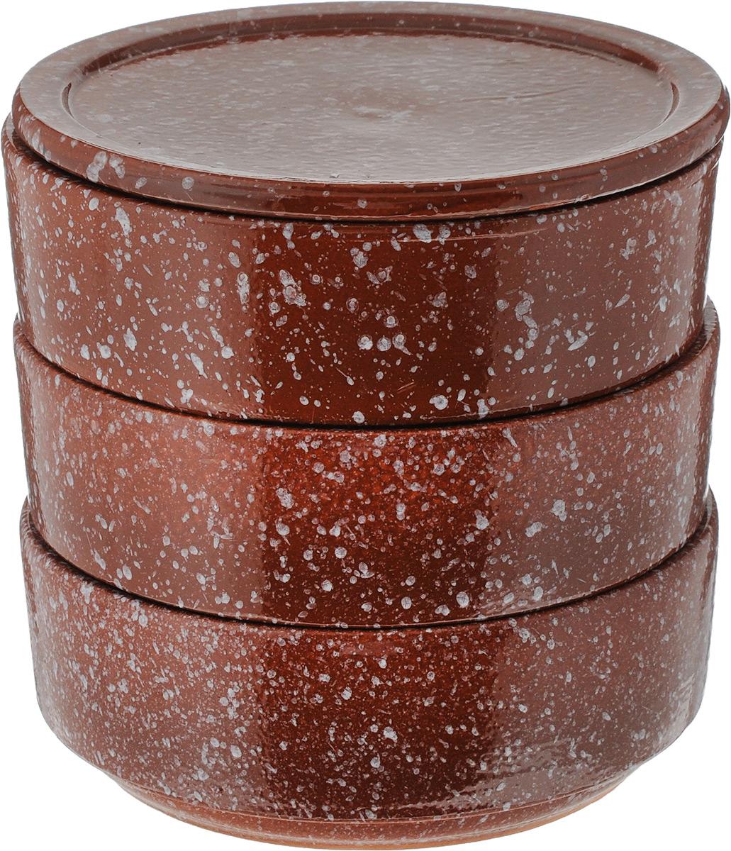 Набор блюд для холодца Ломоносовская керамика, с крышкой, цвет: коричневый, 0,65 л, 3 шт2Н3мк-17Блюда Ломоносовская керамика, изготовленные из глины, предназначены дляприготовления и хранения заливного или холодца. В комплект входит плоская керамическаякрышка.Также блюда можно использовать для приготовления и хранения салатов. Такие блюда украсят сервировку вашего стола и подчеркнут прекрасный вкус хозяйки. Диаметр блюда: 15,2 см, Высота блюда: 5,5 см, Объем блюда: 0,65 л.