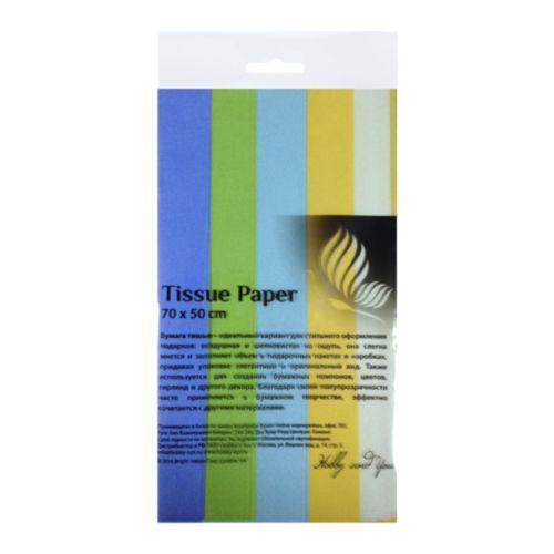 Набор бумаги тишью Hobby&You Полевые цветы, цвет: темно-синий, зеленый, желтый, голубой, белый, 50 х 70 см, 5 штHY07002Бумага тишью Hobby and You Полевые цветы - это тонкая, нежная и привлекательная декоративная бумага. Она производится из беленой сульфатной целлюлозы, получаемой из древесины деревьев хвойных пород. Бумага тишью Hobby and You Полевые цветы идеально подходит для стильного оформления подарков и для создания помпонов, цветов, гирлянд и другого декора.Такой упаковочный элемент прекрасно дополнит любую упаковку и сделает ее яркой и праздничной.Размер бумаги тишью: 50 х 70 см.