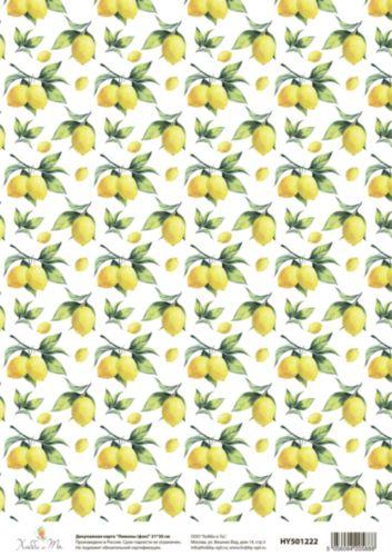 Карта декупажная Hobby&You Лимоны (фон), 21 х 30 смHY501222Декупажная карта Hobby&You прекрасно подходит для декорирования предметов из керамики, пластика, дерева, стекла, фанеры, металла, текстиля и других материалов.Она выполнена из гладкой бумаги.Размер 21 х 30 см.