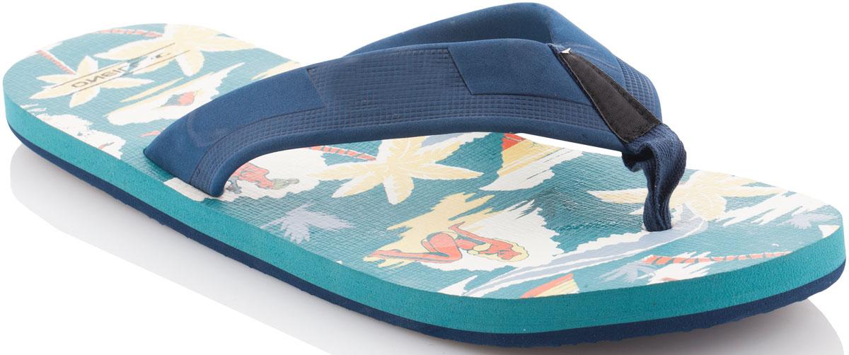 Сланцы мужские ONeill Fm Imprint Pattern Flip Flops, цвет: зеленый. 7A4522-6930. Размер 43 (42)7A4522-6930Сланцы от ONeill незаменимы для пляжного сезона. Модель выполнена из качественного полимерного материала. Перемычка между пальцами отвечает за надежную фиксацию модели на ноге. Удобная подошва выполнена в ярких цветах. Эффектные сланцы помогут вам создать яркий, запоминающийся образ.