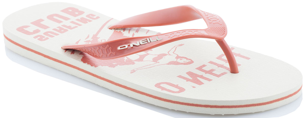 Сланцы мужские ONeill Fm Profile Graphic Flip Flops, цвет: бежевый. 7A4530-1082. Размер 41 (40)7A4530-1082Сланцы от ONeill незаменимы для пляжного сезона. Модель выполнена из качественного полимерного материала. Перемычка между пальцами отвечает за надежную фиксацию модели на ноге. Удобная подошва оформлена оригинальным принтом.