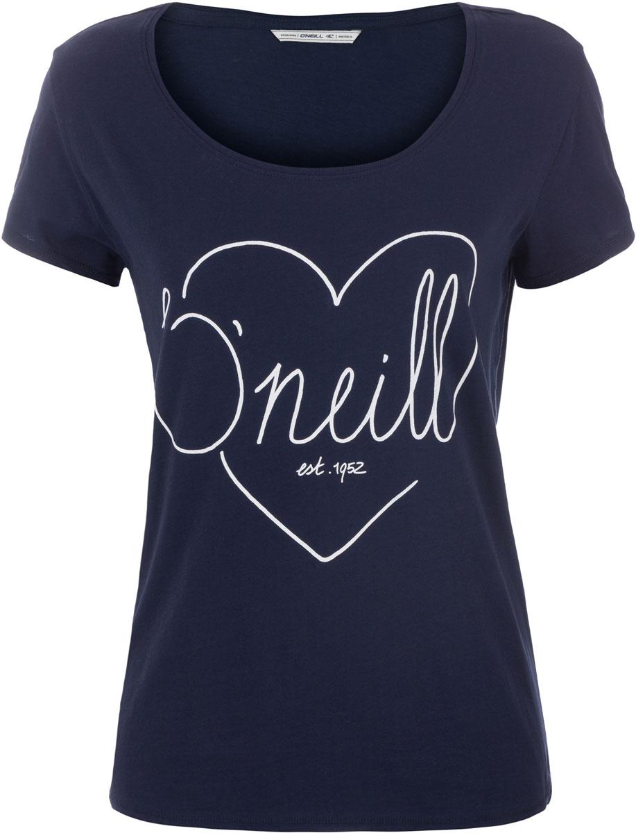 Футболка женская ONeill Lw Heart Graphic T-Shirt, цвет: темно-синий. 7A8618-5056. Размер M (46/48)7A8618-5056Футболка женская ONeill выполнена из 100% хлопка. Модель имеет стандартный крой, короткий рукав и круглый вырез горловины. Футболка дополнена рисунком в виде сердца и надписями.