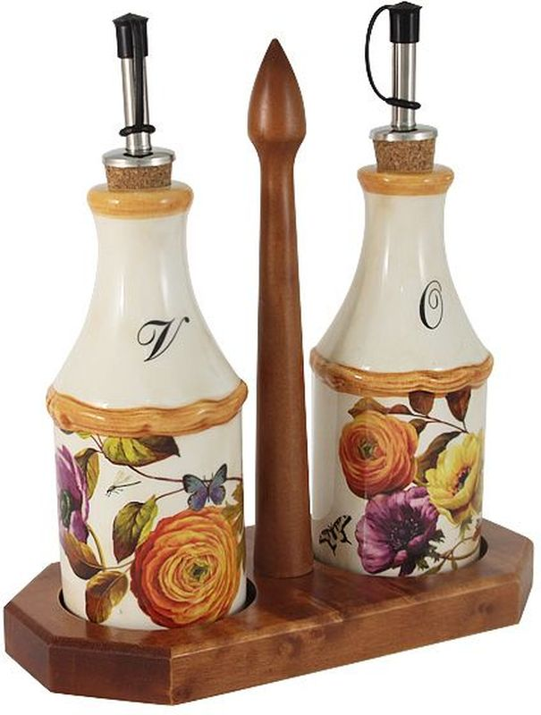 Набор бутылок для масла и уксуса LCS Элеганс, на подставке, 275 мл. LCS072L-E-AL54139Набор из 2-х бутылок для масла и уксуса на подставке Элеганс. LCS - молодая, динамично развивающаяся итальянская компания из Флоренции, производящая разнообразную керамическую посуду и изделия для украшения интерьера. В своих дизайнах LCS использует как классические, так и современные тенденции. Высокий стандарт изделий обеспечивается за счет соединения высоко технологичного производства и использования ручной работы профессиональных дизайнеров и художников, работающих на фабрике.