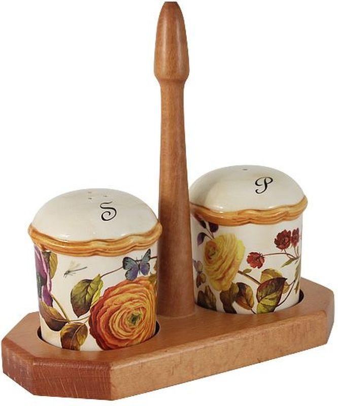 Набор для специй LCS Элеганс, на подставке, 3 предмета54140Набор для специй LCS Элеганс, изготовленный из керамики, состоит из солонки и перечницы. Емкости декорированы изысканным изображением помещаются на специальную деревянную подставку. Солонка и перечница легки в использовании: стоит только перевернуть емкости, и вы с легкостью сможете поперчить или добавить соль по вкусу в любое блюдо.Набор LCS Элеганс не только украсит стол, но и станет полезным аксессуаром как на кухне, так и за праздничным столом.