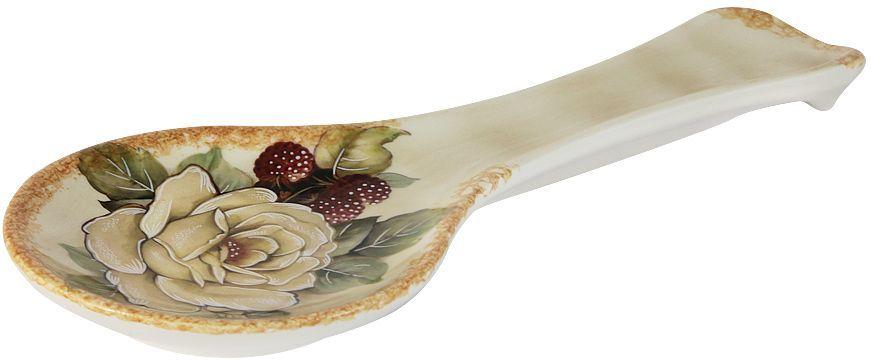 Ложка-подставка LCS Роза и малина, 25 см54159Ложка-подставка 25см Роза и малинаLCS - молодая, динамично развивающаяся итальянская компания из Флоренции, производящая разнообразную керамическую посуду и изделия для украшения интерьера. В своих дизайнах LCS использует как классические, так и современные тенденции. Высокий стандарт изделий обеспечивается за счет соединения высоко технологичного производства и использования ручной работы профессиональных дизайнеров и художников, работающих на фабрике.