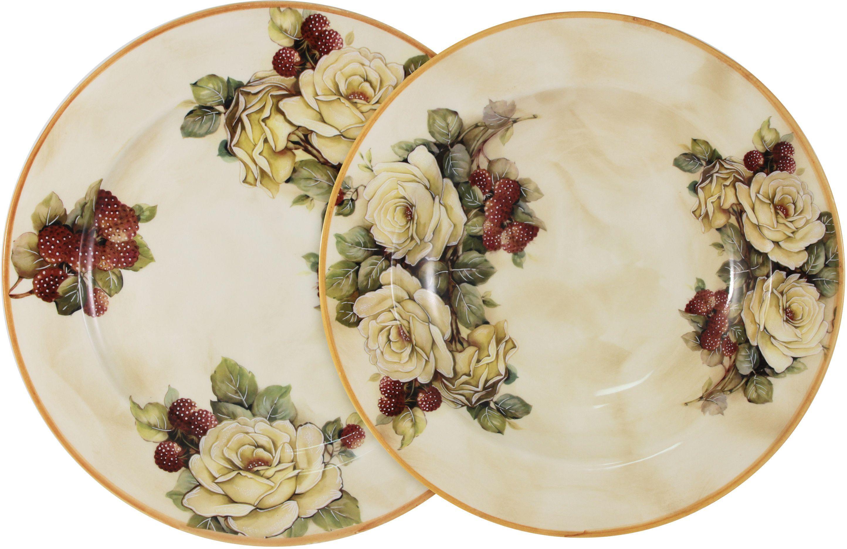 """Набор LCS """"Роза и малина"""" состоит из суповой и обеденной тарелок,  изготовленных из высококачественной керамики. Сервировка праздничного стола таким набором станет великолепным украшением  любого торжества.  Диаметр суповой тарелки: 23,5 см. Диаметр обеденной тарелки: 25 см.  """"LCS"""" - молодая, динамично развивающаяся итальянская компания из Флоренции,   производящая разнообразную керамическую посуду и изделия для украшения  интерьера. В своих дизайнах """"LCS"""" использует как классические, так и  современные тенденции. Высокий стандарт изделий обеспечивается за счет соединения высоко  технологичного  производства и использования ручной работы  профессиональных дизайнеров и  художников, работающих на фабрике."""